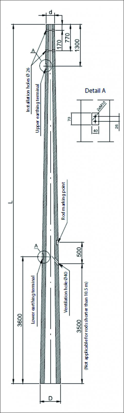 Spun concrete transmission poles with earthing terminals